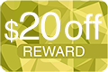 20 Dollars Off Reward Icon