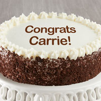 Zoomed in Image of Personalized Chocolate and Vanilla Cake