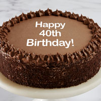 Zoomed in Image of Happy 40th Birthday Double Chocolate Cake