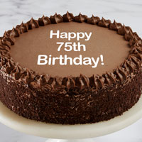 Zoomed in Image of Happy 75th Birthday Double Chocolate Cake