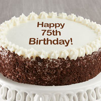 Zoomed in Image of Happy 75th Birthday Chocolate and Vanilla Cake