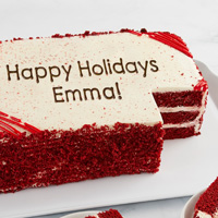 Zoomed in Image of Personalized Red Velvet Sheet Cake
