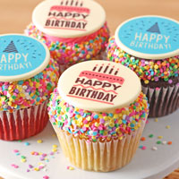 Zoomed in Image of JUMBO Birthday Cupcakes