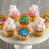 Zoomed in Image of Mini Rainbows and Unicorns Cupcakes