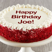 Zoomed in Image of Personalized Red Velvet Chocolate Cake