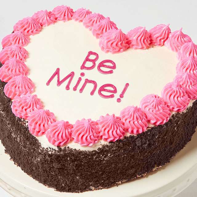 image of Be Mine! Heart-Shaped Chocolate Cake