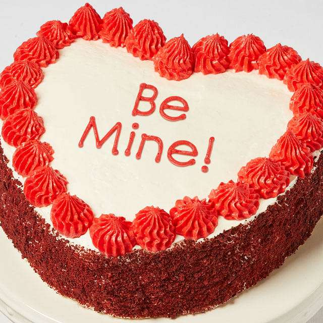 image of Be Mine! Heart-Shaped Red Velvet Chocolate Cake