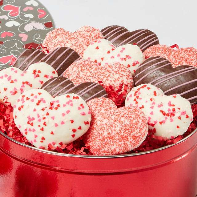 image of Valentine's Heart-Shaped Cookie Tin