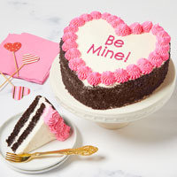 Wide View Image Be Mine! Heart-Shaped Chocolate Cake