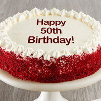 Zoomed in Image of Happy 50th Birthday Red Velvet Cake