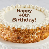 Zoomed in Image of Happy 40th Birthday Carrot Cake