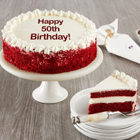 Wide View Image Happy 50th Birthday Red Velvet Cake