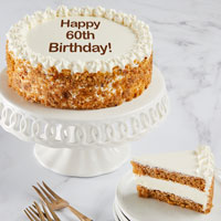 Wide View Image Happy 60th Birthday Carrot Cake